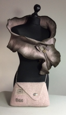 Superfine Merino Wrap with Mink Merino & Bergschaf Bag